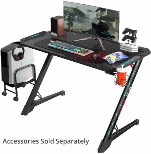 "EUREKA ERGONOMIC Z1S-PRO Gaming Desk 44.5"" Z Shaped Gaming Desk Office PC Computer Gamer Desks Pro RGB LED Lights with Drink Holder Headphone Hook and Mouse Pad for Men Boyfriend Female Gift B07SJJSJDV"