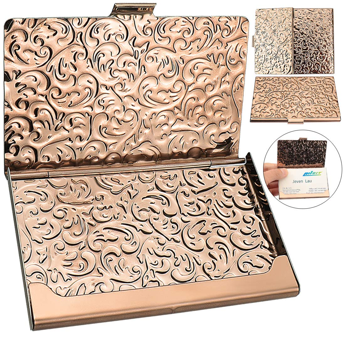 YOBANSA Stainless Steel Rose Gold Business Card Holder
