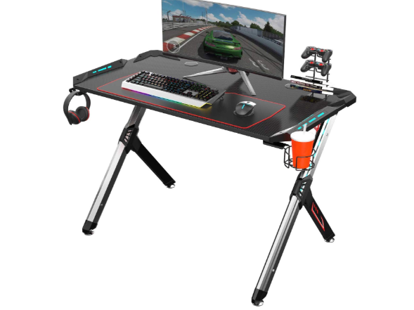 EUREKA ERGONOMIC Gaming Desk RGB Lighting R1-S Gaming Table 44.5'' PC Desk Sturdy Easy to Assemble Computer Desk with Free Mouse pad Cup Holder Headphone Hook for Men Boy Girlfriend Son Daughter Black B07GJTWSNR