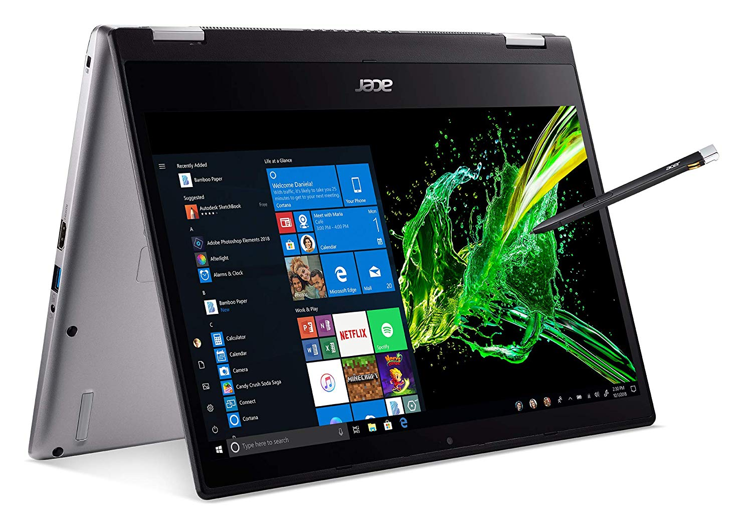 Acer Spin 3 Convertible Laptop, 14 inches Full HD IPS Touch, 8th Gen Intel Core i7-8565U, 16GB DDR4, 512GB PCIe NVMe SSD, Backlit KB, Fingerprint Reader, Rechargeable Active Stylus, SP314-53N-77A B07QXL8YCX