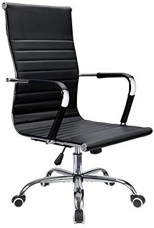 Devoko Office Desk Chair Mid Back Leather Height Adjustable Swivel Ribbed Chairs Ergonomic Executive Conference Task Chair with Arms