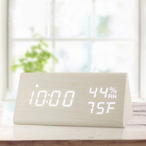 digital alarm clock with wooden electronic LED time display