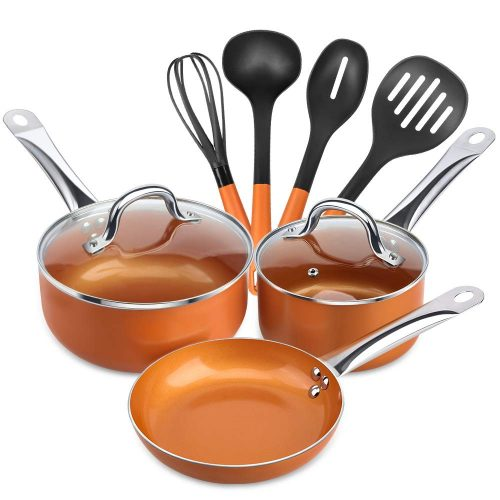 SHINEURI 9 Pieces Copper Cookware Pans and Pots Set- 8 Inch Fry Pan, 1.5qt Saucepan and 2.5qt Saucepan with Lid, 4 Set Cooking Utensils