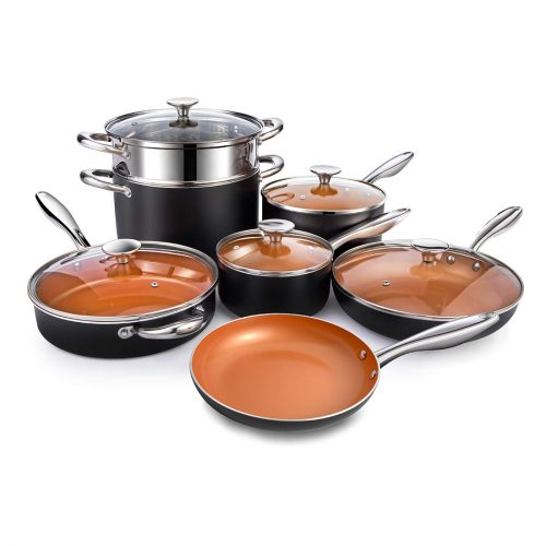 MICHELANGELO Copper Pots and Pans Set Nonstick 12 Piece, Ultra Non-stick Copper Cookware Set with Ceramic Titanium Coating