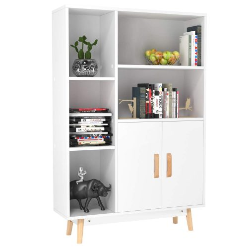 Homfa Floor Storage Cabinet, Free Standing Wooden Display Bookcase with Double Doors, 2 Shelves, 3 Cubes, and 4 Legs