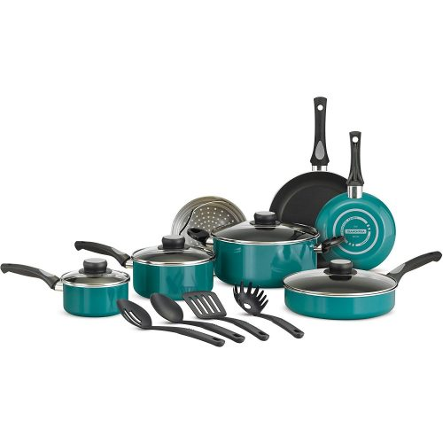 Tramontina 15-Piece Nonstick Cookware Set (Teal)