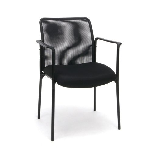 OFM ESS-8010 Essentials Collection Mesh Back Upholstered Side Chair with Arms