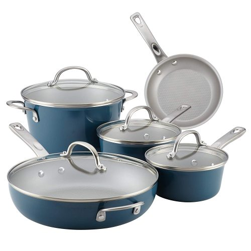 Ayesha Curry 10769 Home Collection Nonstick Cookware Pots and Pans Set, 9 Piece, Twilight Teal