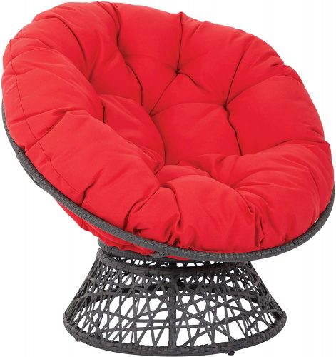 OSP Designs BF25292-RD Papasan Chair with 360-degree Swivel