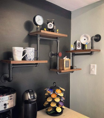 Industrial Rustic Modern Wood Ladder Pipe Wall Shelf 4 Layer Pipe Design Bookshelf
