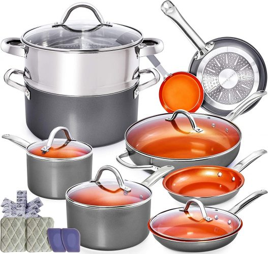 Copper Pots and Pans Set- 13pc Copper Cookware Set Copper Pan Set Ceramic Cookware Set Ceramic Pots and Pans Set Induction