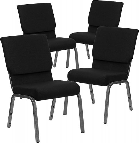 Flash Furniture 4 Pk. HERCULES Series 18.5''W Stacking Church Chair in Black Fabric