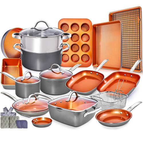 Copper Pots and Pans Set-23pc Copper Cookware Set Copper Pan Set Ceramic Cookware Set Ceramic Pots and Pans Set Induction