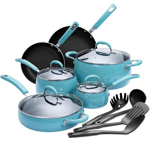 Finnhomy Hard Porcelain Enamel Aluminum Cookware Set, Ceramic Cookware Set, New Technology Double Nonstick