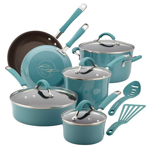 Rachael Ray 16344 Cucina Nonstick Cookware Pots and Pans Set, 12 Piece