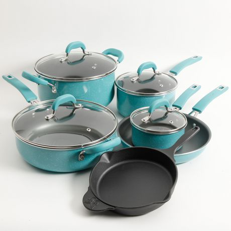 Pioneer Woman Classic Belly 10-Piece Cookware Set, ocean Teal