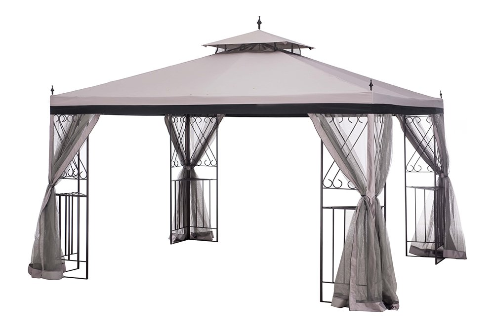 Sunjoy 10' x 12' Monterey Gazebo with Netting, Gray with Black