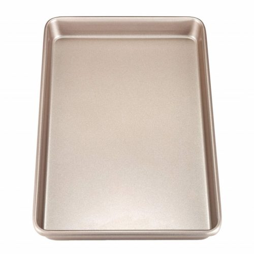 """CHEFMADE 17-Inch Rimmed Baking Pan, Non-stick Carbon Steel Cookie Sheet Pan, FDA Approved for Oven Roasting Meat Bread Jelly Roll Battenberg Pizzas Pastries 12"""" x 17""""(Champagne Gold)"""
