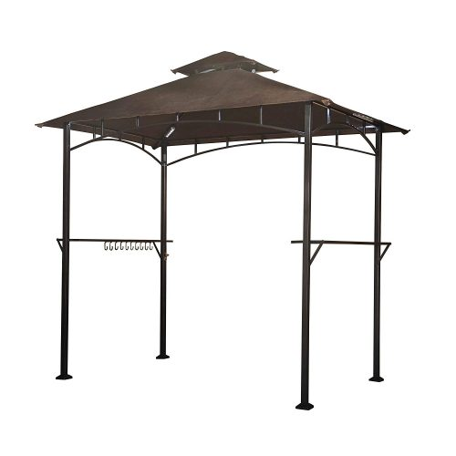 Sunjoy L-GG001PST-F 8' X 5' Soft Top Brown Double Tiered Canopy Grill Gazebo With 4Pcs Led Gazebo Grill