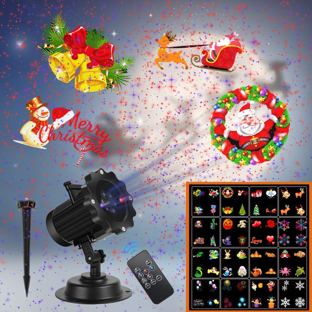 Christmas Projector Lights, UNIFUN 16 Patterns LED Projector Lights - Outdoor Laser Lights For Christmas