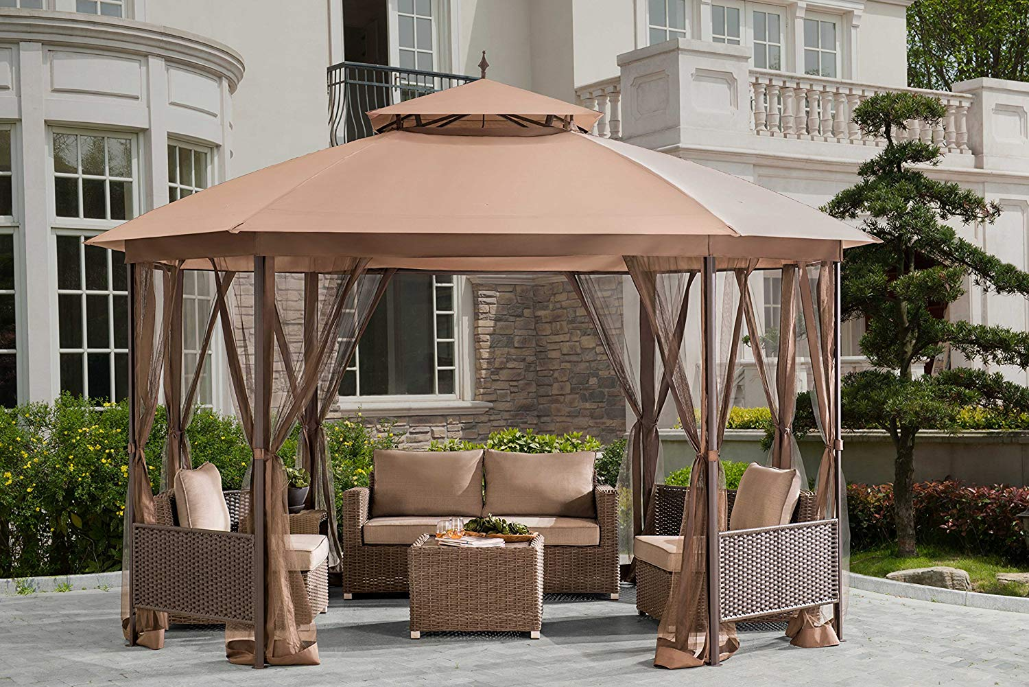 Sunjoy Octagonal Patio Softtop Gazebo with Netting, Wicker Pannels, Brown