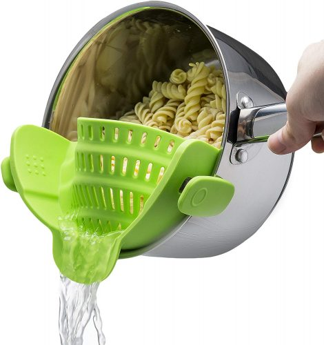 Kitchen Gizmo Snap N Strain Strainer, Clip On Silicone Colander, Fits all Pots and Bowls