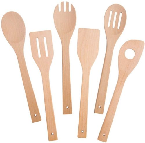 HansGo Wooden Kitchen Tool, Kitchen Utensil Set Wooden Cooking Spoons