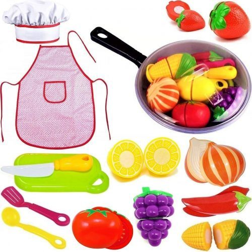 Play Kitchen Accessories Set for Kids - Cutting Toy Fruits & Vegetables