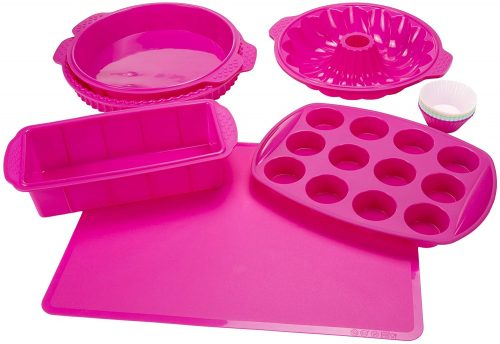 Silicone Bakeware Set, 18-Piece Set including Cupcake Molds, Muffin Pan