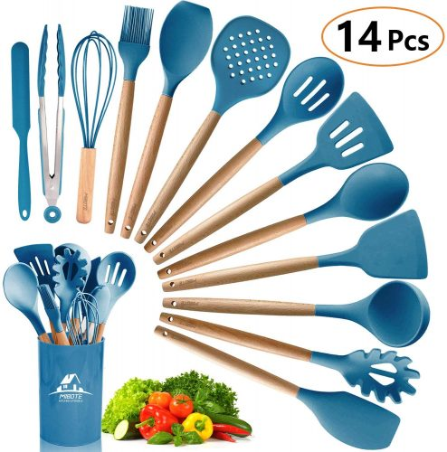 MIBOTE 14PCS Silicone Cooking Kitchen Utensils Set with Holder