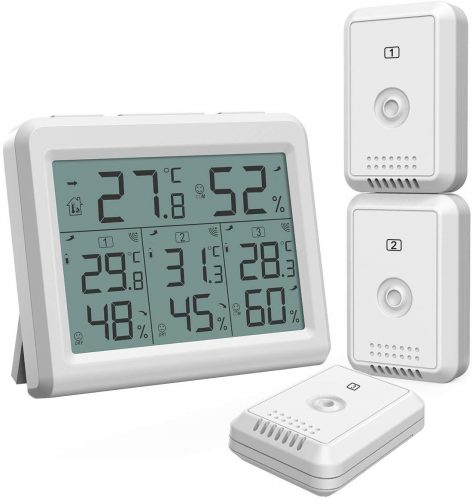 ORIA Indoor Outdoor Thermometer with 3 Wireless Sensors