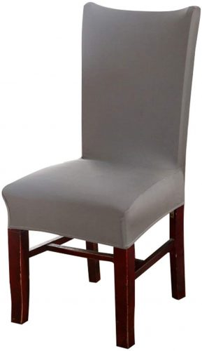 Knit Spandex Fabric Stretch Dining Room Chair Slipcovers Set of 4 Gray