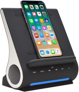 Azpen Dockall D100 - Qi Wireless Charger, Bluetooth Premium Speakers