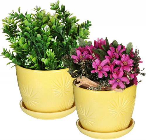 MyGift Set of 2 Yellow Sunburst Design Ceramic Flower Planter Pots