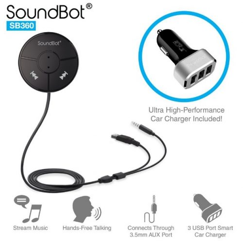 SoundBot SB360 Bluetooth 4.0 Car Kit Hands-Free Wireless Talking - Bluetooth Dongle for Car