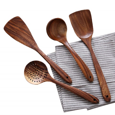 Wooden Cooking Utensils Kitchen Utensil, Natural Teak Wood Kitchen Utensils Set