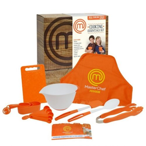 MasterChef Junior Cooking Essentials Set - 9 Pc. Kit Includes Real Cookware for Kids, Recipes and Apron - Kids Cooking Utensils