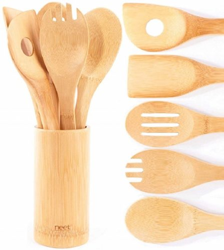 Organic Bamboo Cooking & Serving Utensil Set By Neet - Wooden Kitchen Utensils