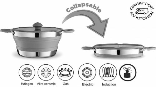 Gourmia Collapsible Pot – Stainless Steel, Silicone and Glass Lid
