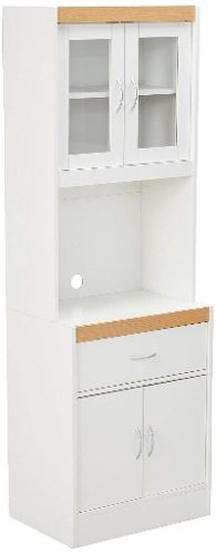 Hodedah Long Standing Kitchen Cabinet with Top & Bottom Enclosed Cabinet Space