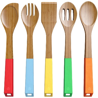 Vremi 5-Piece Bamboo Kitchen Utensil Set - Wooden Kitchen Utensils