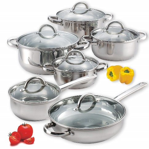 Cook N Home NC-00250 12-Piece Stainless Steel Cookware Set, Silver - Cooking Pot