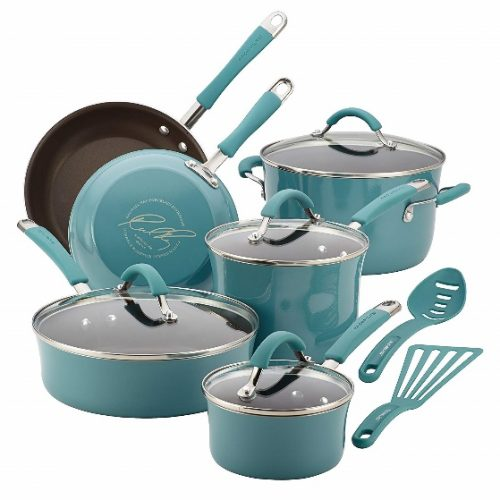 Rachael Ray 16344 Cucina Nonstick Cookware Pots and Pans Set, 12 Piece, Agave Blue - Cooking Pot