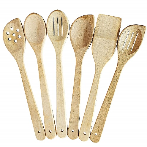 Healthy Cooking Utensils Set - 6 Wooden Spoons For Cooking - Wooden Kitchen Utensils