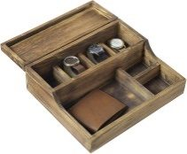 MyGift Rustic Brown Burnt Wood Tabletop Watch Case & Dresser Valet Tray - Valet Trays For Men
