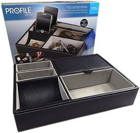 Profile Gifts 10 Inch Black Leatherette Valet Tray with 5 Compartments