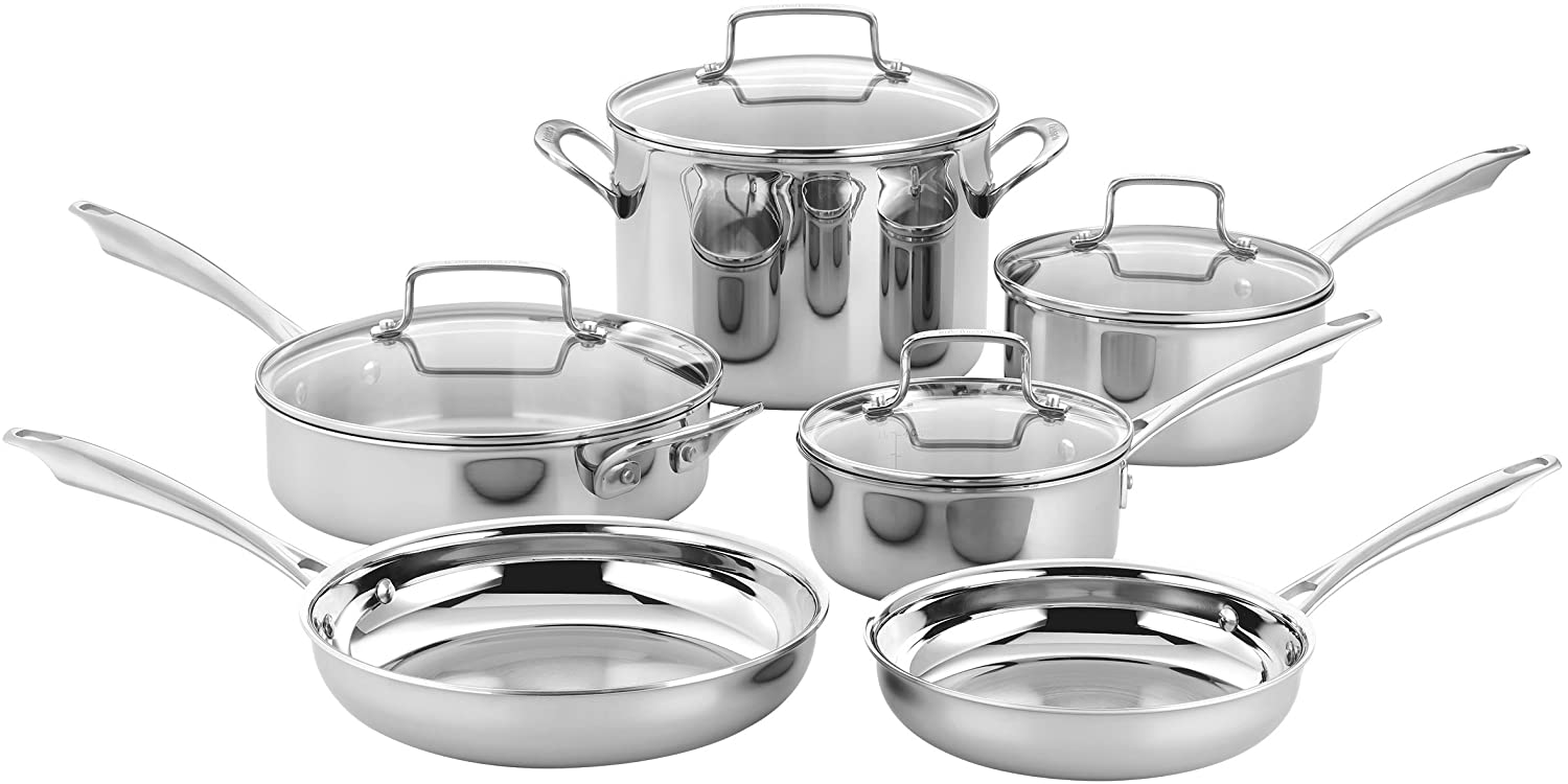 Cuisinart TPS-10 10 Piece Tri-ply Stainless Steel Cookware Set, PC, Silver B07BRC15QF