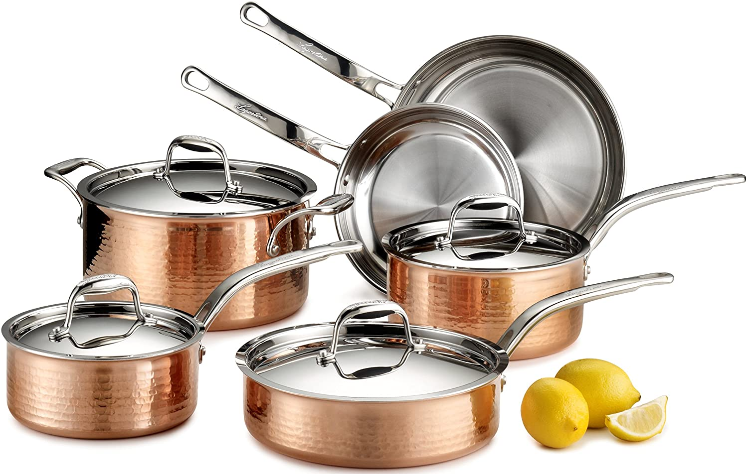 Lagostina Martellata Hammered Copper 18/10 Tri-Ply Stainless Steel Cookware Set, 10-Piece, Copper B014X01E66