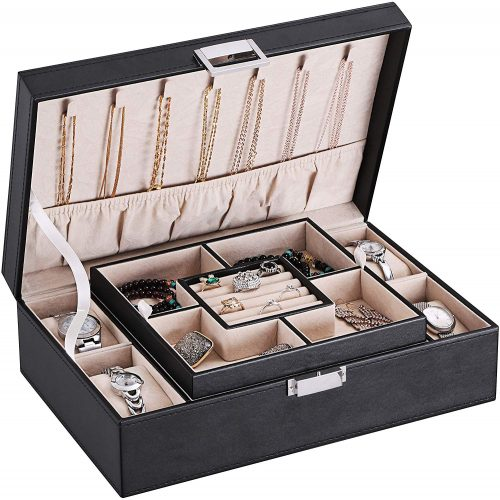 BEWISHOME Jewelry Box Organizer with 4 Watch Case Removable Tray Jewelry Display Storage Case - Men's Jewellery Boxes
