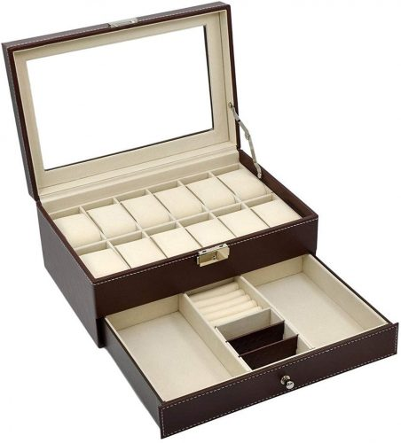 AUTOARK Leather 12 Men's Watch Box with Jewelry Display Drawer Lockable Watch Case Organizer - Men's Jewellery Boxes